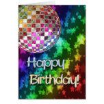 Birthday with disco ball and rainbow of stars