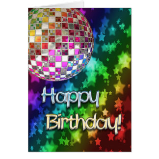 Birthday with disco ball and rainbow of stars greeting card