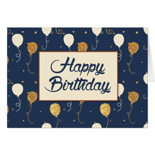 Birthday with Gold Balloons on Navy Blue Card