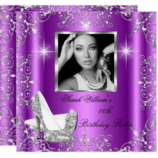 Birthday Women's Magenta Silver Heels Photo Card