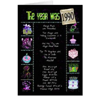 Birthday Year 1990 Greeting Card