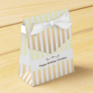 Birthday Yellow Striped Favour Box