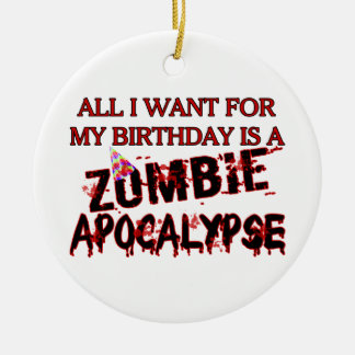 Birthday Zombie Apocalypse Christmas Ornament