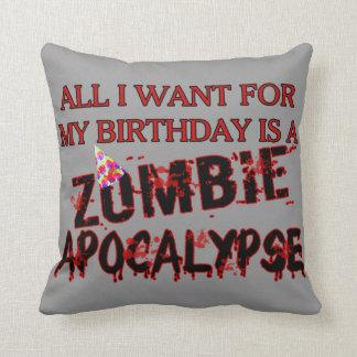 Birthday Zombie Apocalypse Throw Pillow