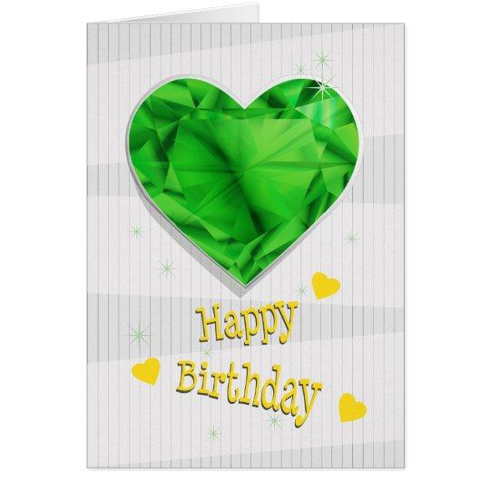 Birthstone May Green Emerald Heart Birthday Card