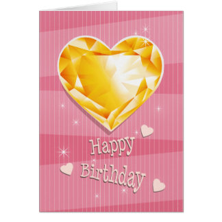 Birthstone November Yellow  Citrine Heart Birthday Card