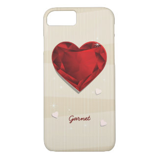 Birthstones January Garnet Red Heart iPhone 8/7 Case