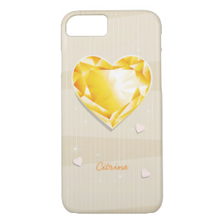 Birthstones November Citrine Golden yellow Heart iPhone 8/7 Case