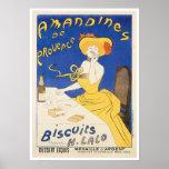 Biscuits Amandines Vintage Food Ad Art Poster
