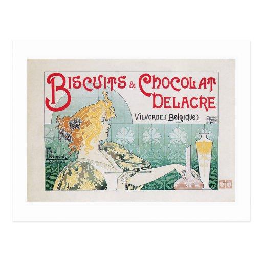 Biscuits Chocolate Vintage Food Ad Art Post Cards