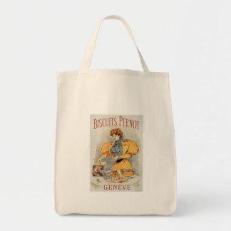 Biscuits Pernot Vintage Food Ad Art Canvas Bags