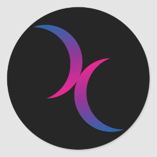 Bisexual double moons classic round sticker