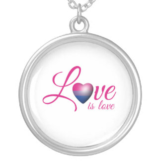 BISEXUAL LOVE IS -.png Necklaces