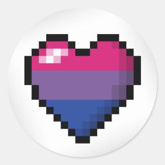 Bisexual Pixel Heart Round Sticker