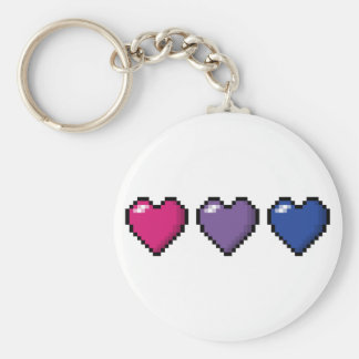 Bisexual Pixel Hearts Basic Round Button Key Ring