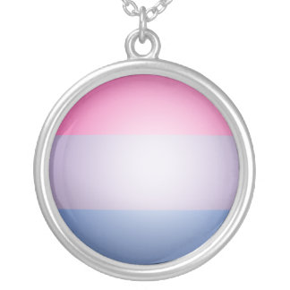 BISEXUAL PRIDE 3D COLORS -.png Silver Plated Necklace