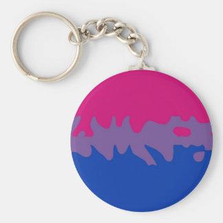 Bisexual Pride Flag Splash Basic Round Button Key Ring