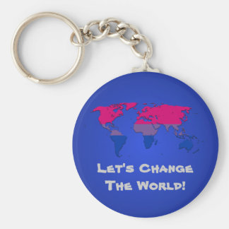 Bisexuality pride world map Keychain Key Chains