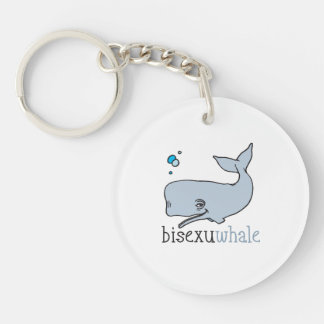 BISEXUWHALE Double-Sided ROUND ACRYLIC KEY RING