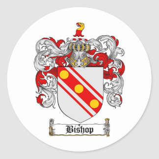 BISHOP FAMILY CREST -  BISHOP COAT OF ARMS CLASSIC ROUND STICKER