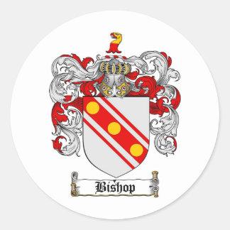 BISHOP FAMILY CREST -  BISHOP COAT OF ARMS ROUND STICKER
