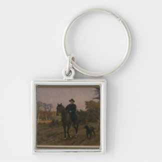Bismarck on Horseback with Dog Silver-Colored Square Key Ring