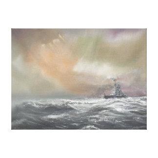 Bismarck signals Prinz Eugen 0959hrs 24th May Canvas Print