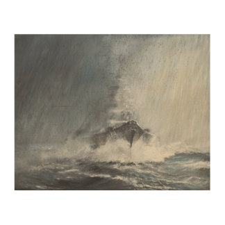 Bismarck through curtains of rain sleet wood wall decor