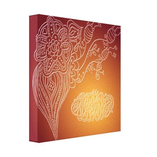 Bismillah - Islamic flower arabic calligraphy henn Canvas Print