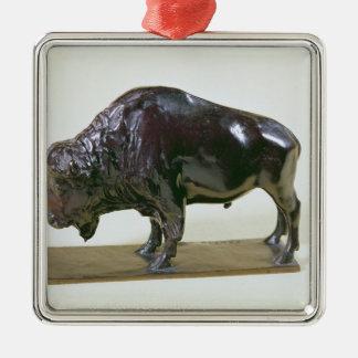 Bison, 1907 Silver-Colored square decoration
