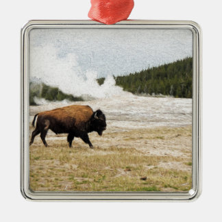 Bison and Old Faithful Christmas Ornament