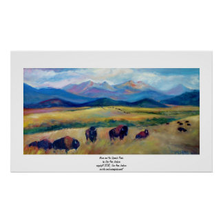 Bison and the Spanish Peaks Poster