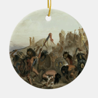 Bison-Dance of the Mandan Indians in front of thei Round Ceramic Decoration