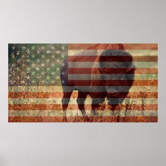 Bison Flag Poster