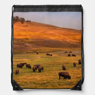 Bison Grazing on Hill at Hayden Valley Drawstring Bag