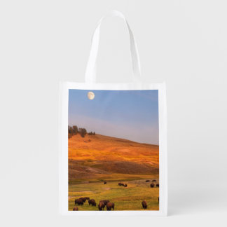 Bison Grazing on Hill at Hayden Valley Reusable Grocery Bag