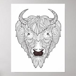 Bison Head Doodle 2 Poster