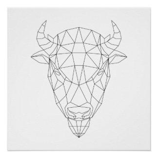Bison Head Geometric Black & White Modern Art