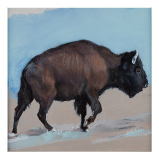 Bison in the West Walking Uphill Poster