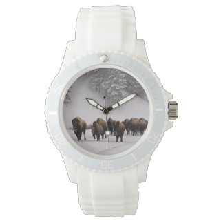 Bison in Winter Wrist Watch