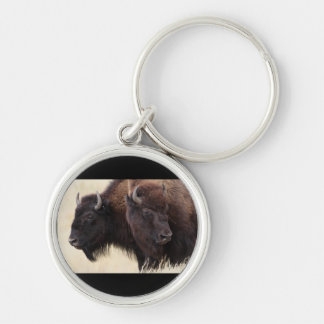 bison Silver-Colored round key ring