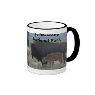Bison, landscape, Yellowstone National Park Ringer Mug