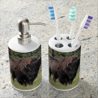 Bison of Yellowstone Photo Soap Dispenser And Toothbrush Holder
