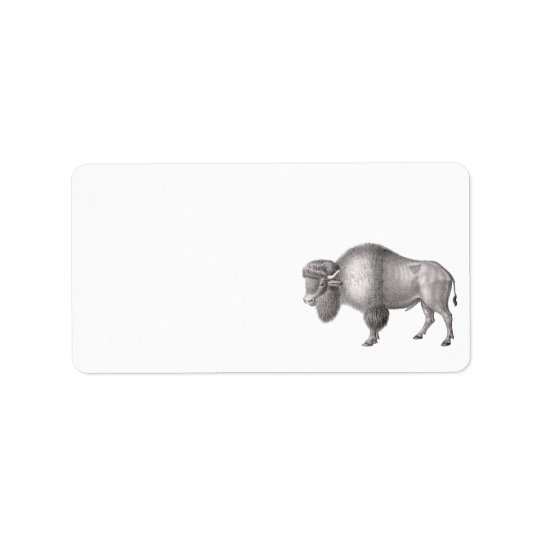 Bison or Buffalo Antique Print Address Label