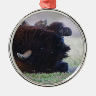 bison rolling in the dirt Silver-Colored round decoration