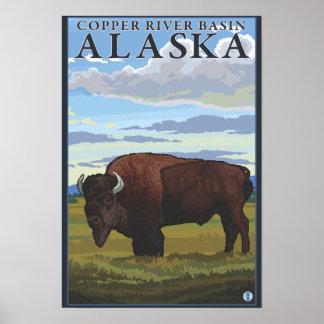 Bison Scene - Copper River Basin, Alaska Poster