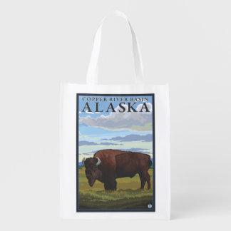Bison Scene - Copper River Basin, Alaska Reusable Grocery Bag
