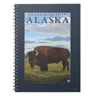 Bison Scene - Delta Junction, Alaska Notebook