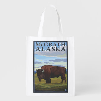 Bison Scene - McGrath, Alaska Reusable Grocery Bag