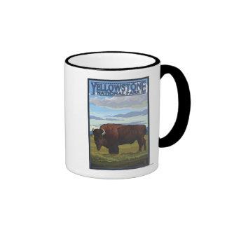Bison Scene - Yellowstone National Park Ringer Mug